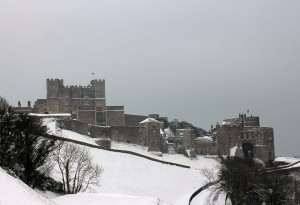Dover Castle in the snow on the hill