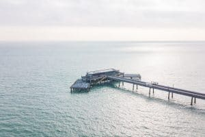 Drone image of Deal Pier in Kent